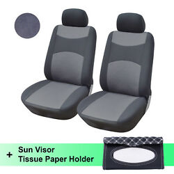 Two Fabric Front Car Seat Covers 160g With Black/white Sun Visor Tissue Holder