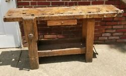 French Antique Work Bench Wood Working Vise Rich Patina 19th Century Estate