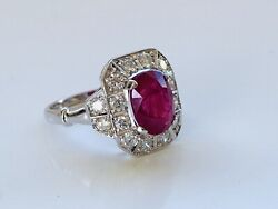 NATURAL RUBY & DIAMOND DRESS RING WITH ART DECO STYLING & VALUATION $9470