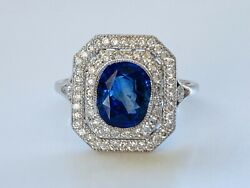 NATURAL SAPPHIRE & DIAMOND DRESS RING WITH CLASSIC STYLING & VALUATION $10490