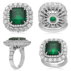 Christmas 1.35ct Natural Diamond Emerald 14k White Gold Cluster Ring Size 7