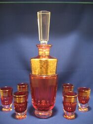 Antique Bohemian Moser Cranberry Signed And Gilded Cordial Liquer Cordial Set