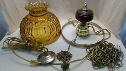 Vtg L. E. Smith Moon And Stars Hanging Lamp Amber Glass And Wood Lamp Parts 302