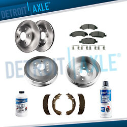 Front Rotors And Ceramic Pads + Rear Drums And Shoes 2009-2013 Silverado Sierra 1500