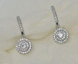 Christmas 2.32ct Natural Round Diamond 14k Solid White Gold Hoops Earring