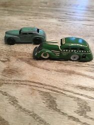 Marx Tricky Taxi Wind Up Tin Toy Green Tin Wind Up Vintage Toy And Police Car