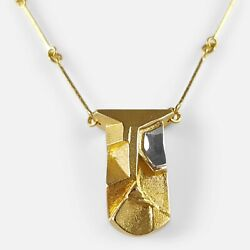 LAPPONIA 14CT GOLD MODERNIST PENDANT NECKLACE FINLAND 2007