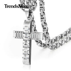 Cubic Zirconia CZ Cross Necklace Pendant Stainless Steel Byzantine Box Chain Men $12.59