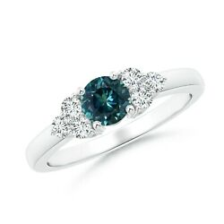 Teal Montana Sapphire Solitaire Ring With Trio Diamonds In Silver/gold/platinum