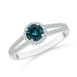 Twin Shank Teal Montana Sapphire Halo Ring With Diamond Accents In Gold/platinum