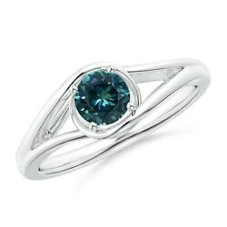 Twist Split Shank Solitaire Teal Montana Sapphire Ring In Silver/gold/platinum
