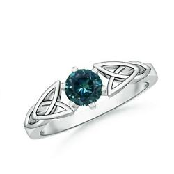 0.6ctw Solitaire Round Teal Montana Sapphire Celtic Knot Ring In Gold/platinum
