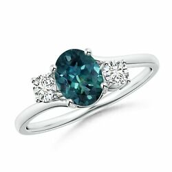 Bypass Teal Montana Sapphire And Diamond Three Stone Ring In Silver/gold/platinum