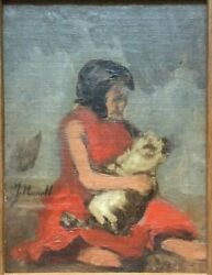 19th Century Portrait Woman With Dog At The Beach By Isidre Nonell 1872-1911