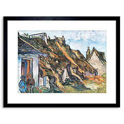 Painting Van Gogh Thatched Hut Chaponval Framed Picture Art Print 9x7 Inch