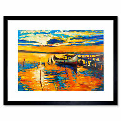 Boat The Dock At Sunset Framed Wall Art Print 12x16 In