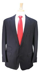Anderson And Sheppard Savile Row Bespoke 2013 Solid Black 2-btn Wool Suit 42l