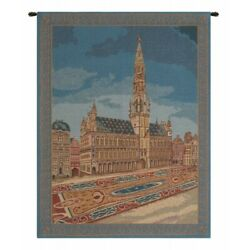 Brussels Grote Markt Town Hall Medieval Belgium Woven Tapestry Wall Hanging