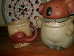 Brown Vintage Pottery Koala Theme Teapot Made In Japan Gempo + Elephant Cup