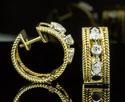 14k Yellow And White Gold Wide Hinged Diamond Hoops