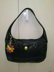 Coach Ergo Blue Patent Leather Hobo Bag & Patchwork Daisy Flower Keychain Fob
