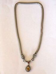Lagos Necklace Silver 925 And 18k Gold Snake Chain Citrine Enhancer C-clasp