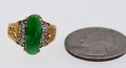 Gia Certified Jadeite And Diamond Ring 18k Yellow Gold Size 4.75 Can Be Sized