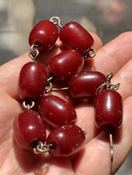Antique 30gr Beads Bracelet Earrings Silver Red Amber 100 Original And Rare