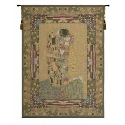The Kiss By Gustav Klimt With Mosaic Border European Woven Tapestry Wall Art
