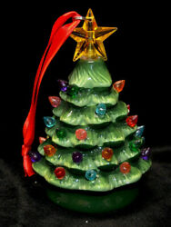 Green Ceramic Christmas Tree Small 5.5 Tabletop Battery Operated Led