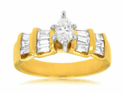 1.10ct Diamond 14kt Yellow Gold 3d Marquise Shape And Baguette Engagement Ring