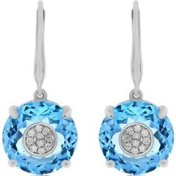 Estate 17.17ct Diamond And Aaa Blue Topaz 14kt White Gold Cluster Hanging Earrings