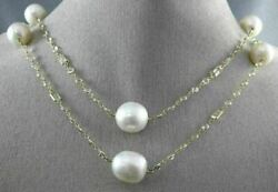 Large 15.0ct White Quartz And South Sea Pearl 14k Yellow Gold By The Yard Necklace