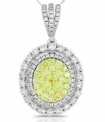 Estate Large 1.92ct White And Fancy Yellow Diamond 14kt White Gold Flower Pendant
