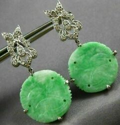 Antique Large .63ct Diamond And Aaa Jade 14kt White Gold 3d Bird Hanging Earrings