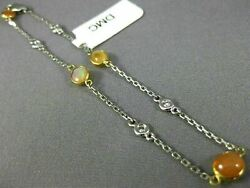 Estate Long 5.66ct Diamond And Aaa Fire Opal 14kt White Gold By The Yard Bracelet