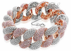 WIDE 21.8CT WHITE & PINK DIAMOND 18K ROSE & WHITE GOLD LOVE KNOT TENNIS BRACELET