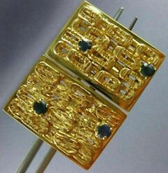 Antique Large 1.36ct Aaa Sapphire 14k Yellow Gold Classic Handcrafted Cuff Links
