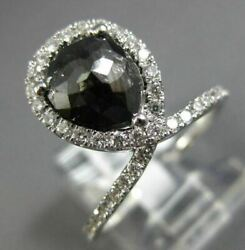 Estate 1.84ct White And Black Diamond 14kt White Gold Love Knot Infinity Love Ring