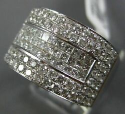 Estate Large 2.02ct Round And Princess Diamond 18kt White Gold 3d Anniversary Ring