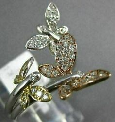 Estate Large .53ct Diamond 14kt White Yellow And Rose Gold 3d Butterfly Love Ring