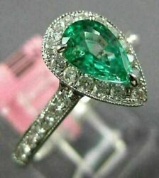 Estate 1.12ct Diamond And Aaa Emerald 18k White Gold 3d Pear Shape Engagement Ring