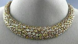 GIA EXTRA LARGE 58.99CT MULTI COLOR FANCY DIAMOND 18K ROSE GOLD CLUSTER NECKLACE