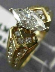 Antique .86ct Diamond 14kt Yellow Gold Marquise Filigree Engagement Ring 19852