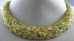 EXTRA LARGE GIA 85.27CT MULTI COLOR FANCY DIAMOND 18KT YELLOW GOLD LOVE NECKLACE