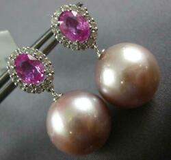 Large 2.32ct Diamond And South Sea Pearl And Pink Sapphire 18kt White Gold Earrings