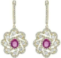 1.97ct Diamond And Aaa Pink Sapphire 14k Yellow Gold Round And Oval Hanging Earrings