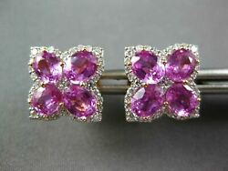 Large 4.26ct Diamond And Aaa Pink Sapphire 18kt White Gold 4 Leaf Clover Earrings