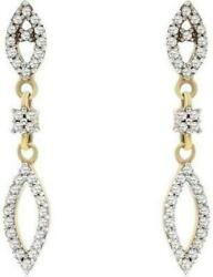 .23ct Diamond 14kt 2 Tone Gold Round Marquise Shape Tear Drop Hanging Earrings
