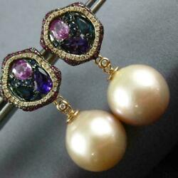 Large Diamond And Multi Sapphire And South Sea Pearl 18kt Rose Gold Hanging Earrings